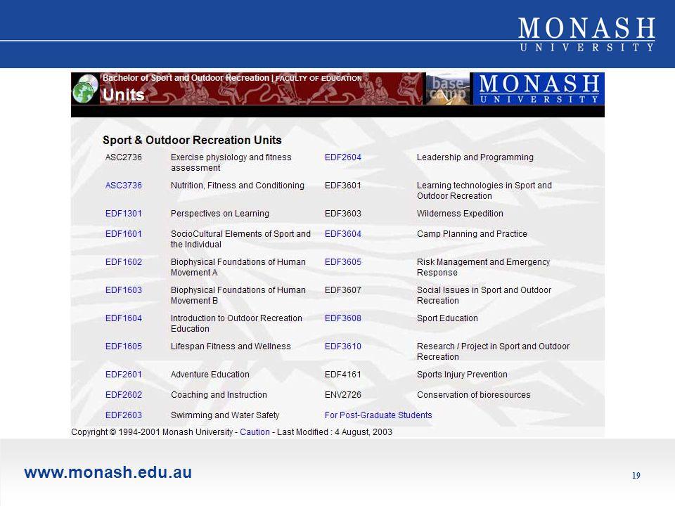 www.monash.edu.au 19