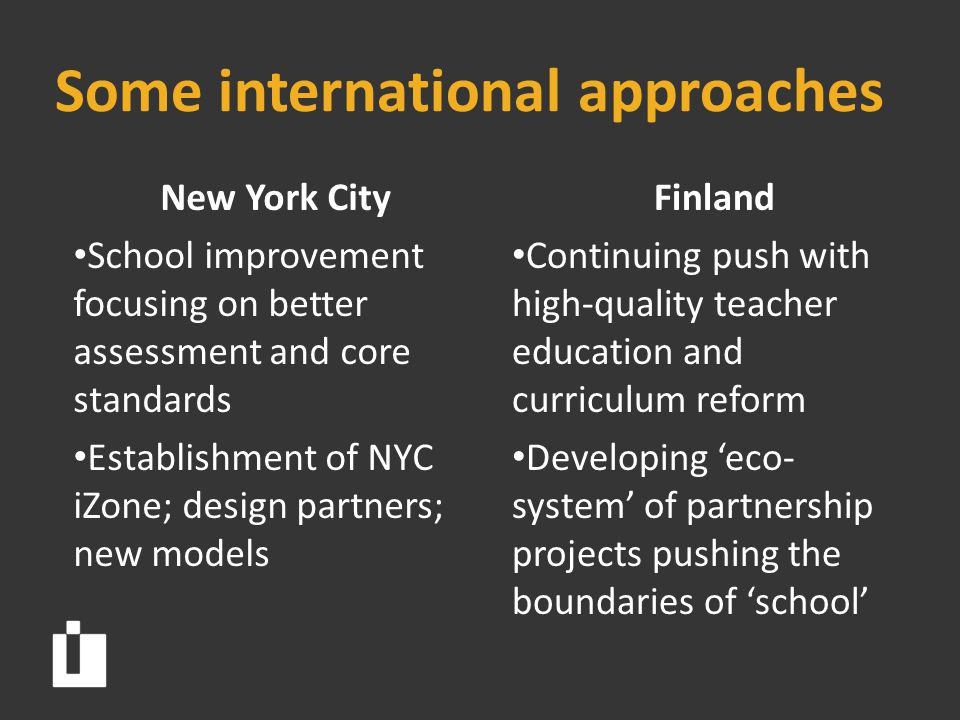 Some international approaches New York City School improvement focusing on better assessment and core standards Establishment of NYC iZone; design partners; new models Finland Continuing push with high-quality teacher education and curriculum reform Developing 'eco- system' of partnership projects pushing the boundaries of 'school'