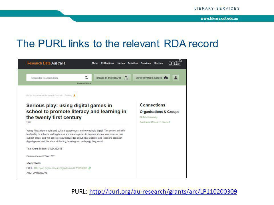 www.library.qut.edu.au LIBRARY SERVICES The PURL links to the relevant RDA record PURL: http://purl.org/au-research/grants/arc/LP110200309http://purl.org/au-research/grants/arc/LP110200309