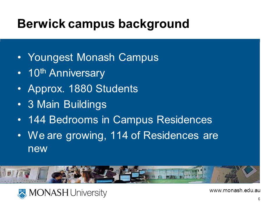 www.monash.edu.au 6 Berwick campus background Youngest Monash Campus 10 th Anniversary Approx.