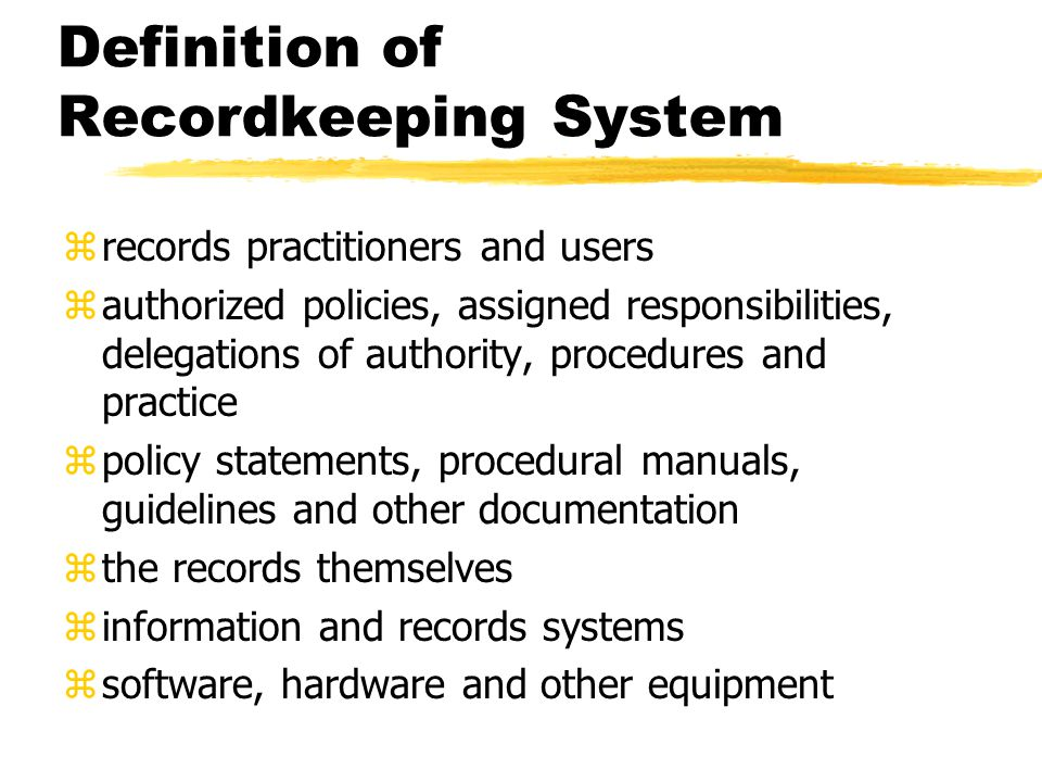 ISO definition of records management zField of management responsible for the efficient and systematic control of the creation, receipt, maintenance, use, and disposition of records, including processes for capturing and maintaining evidence and information of business activities and transactions in the form of records zScope of records management as per AS 4390 definition of recordkeeping system