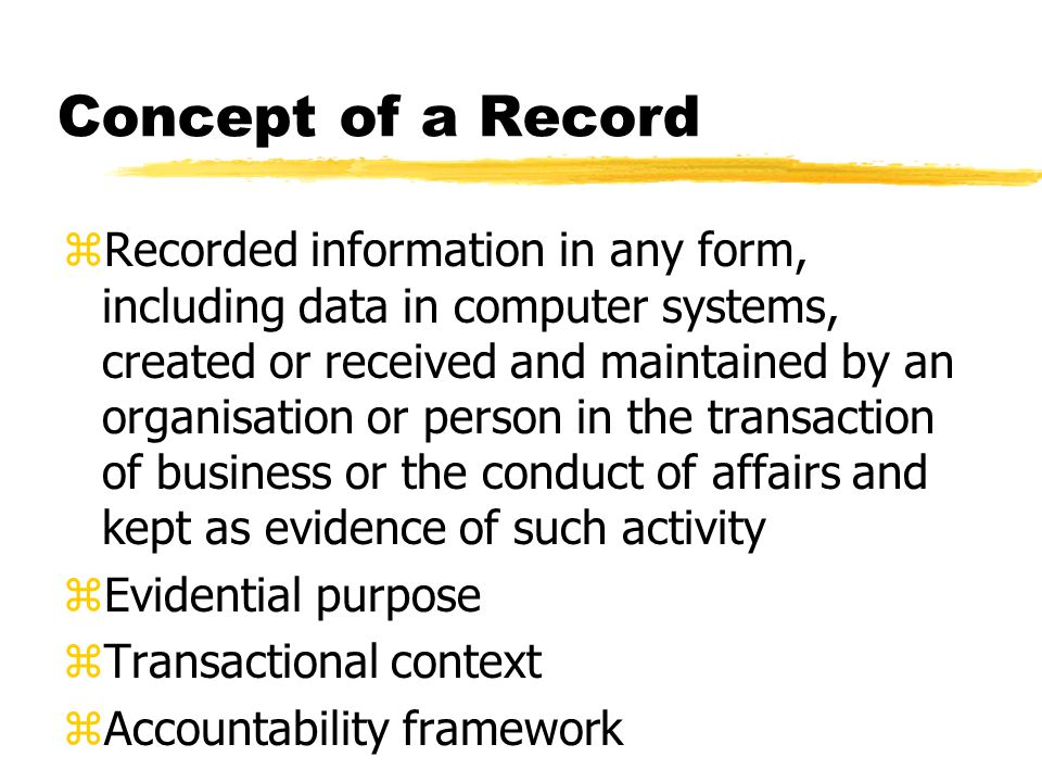 Identification of attributes of records as evidence (AS 4390 Pt.