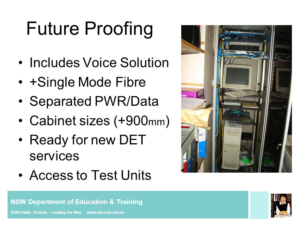 NSW Department of Education & Training NSW Public Schools – Leading the Way www.det.nsw.edu.au Future Proofing Includes Voice Solution +Single Mode Fi
