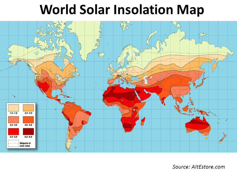 World Solar Insolation Map Source: AltEstore.com