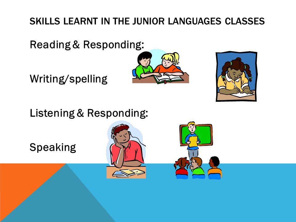 SKILLS LEARNT IN THE JUNIOR LANGUAGES CLASSES Reading & Responding: Writing/spelling Listening & Responding: Speaking