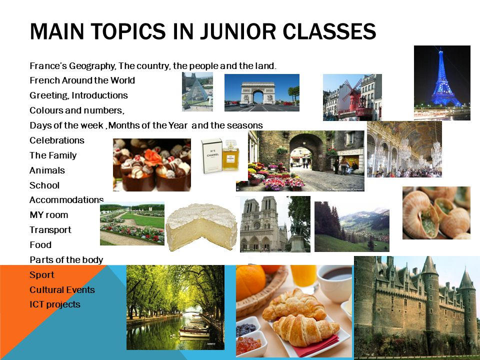 MAIN TOPICS IN JUNIOR CLASSES France's Geography, The country, the people and the land.