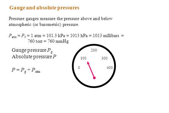 Gauge and absolute pressures Pressure gauges measure the pressure above and below atmospheric (or barometric) pressure. P atm = P 0 = 1 atm = 101.3 kP
