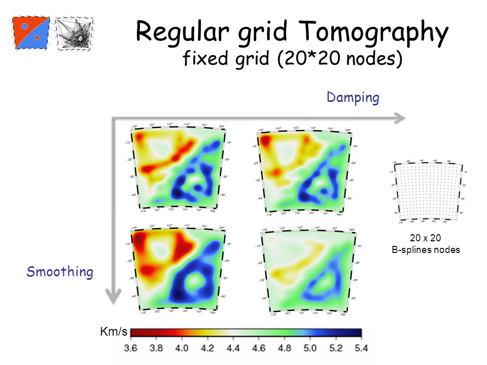 Regular grid Tomography fixed grid (20*20 nodes) Damping Smoothing Km/s 20 x 20 B-splines nodes