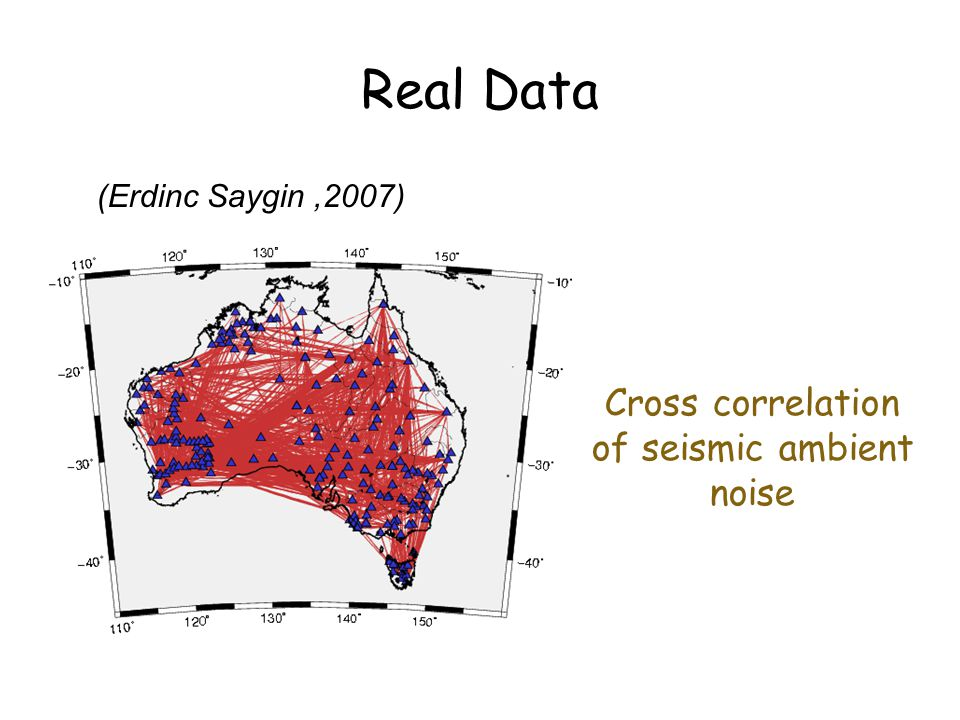 Real Data (Erdinc Saygin,2007) Cross correlation of seismic ambient noise