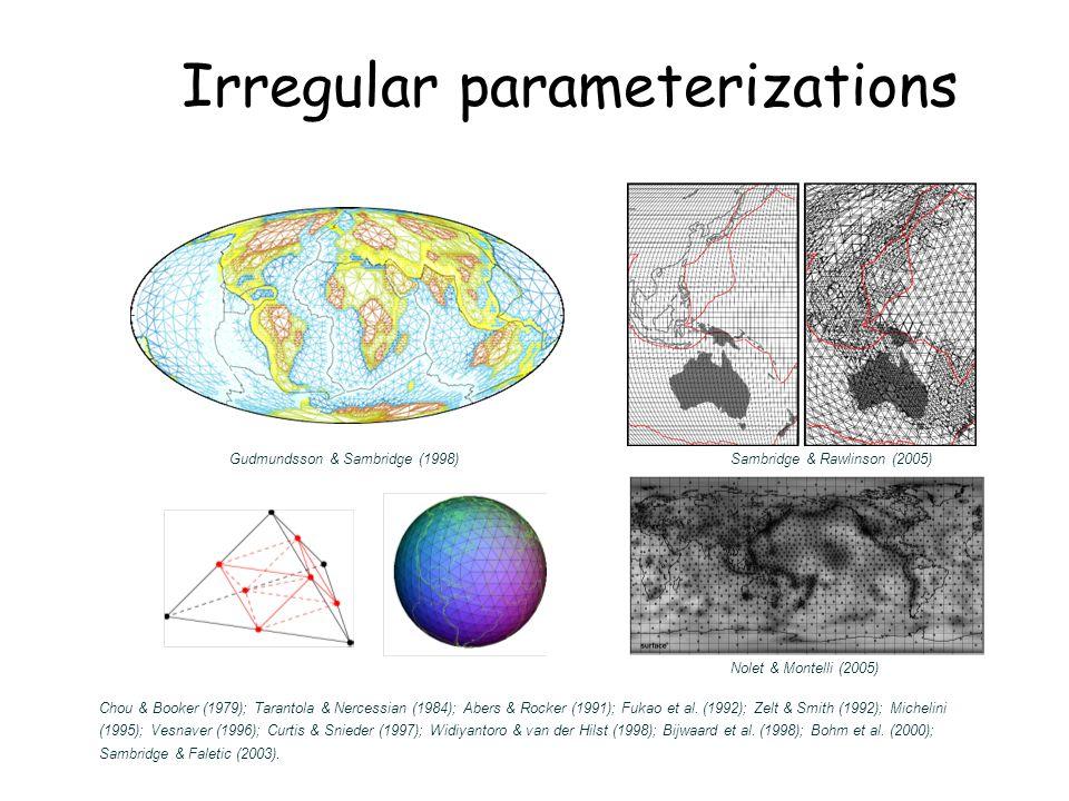 9 Irregular parameterizations Chou & Booker (1979); Tarantola & Nercessian (1984); Abers & Rocker (1991); Fukao et al.