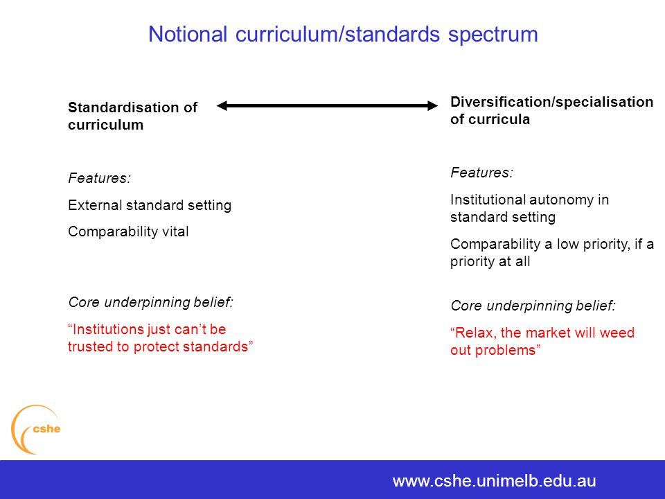 The University of Melbourne > Centre for the Study of Higher Education Notional curriculum/standards spectrum www.cshe.unimelb.edu.au Diversification/specialisation of curricula Features: Institutional autonomy in standard setting Comparability a low priority, if a priority at all Core underpinning belief: Relax, the market will weed out problems Standardisation of curriculum Features: External standard setting Comparability vital Core underpinning belief: Institutions just can't be trusted to protect standards