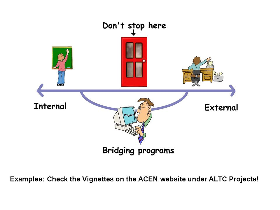 Examples: Check the Vignettes on the ACEN website under ALTC Projects!