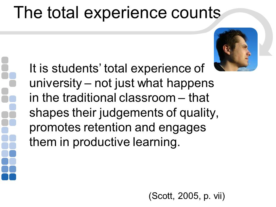 The total experience counts It is students' total experience of university – not just what happens in the traditional classroom – that shapes their judgements of quality, promotes retention and engages them in productive learning.