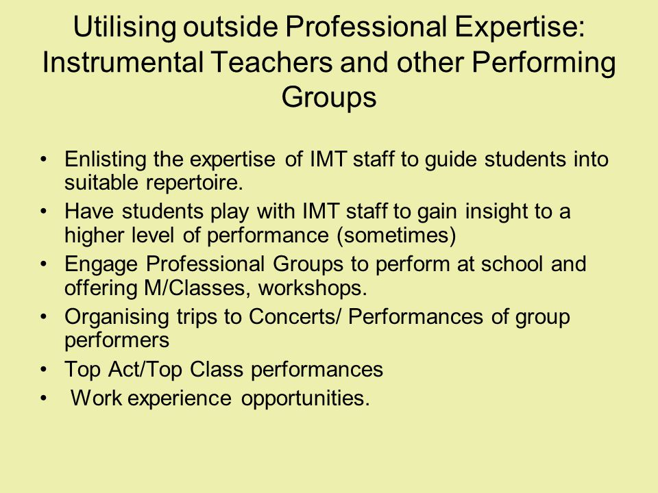 Utilising outside Professional Expertise: Instrumental Teachers and other Performing Groups Enlisting the expertise of IMT staff to guide students int