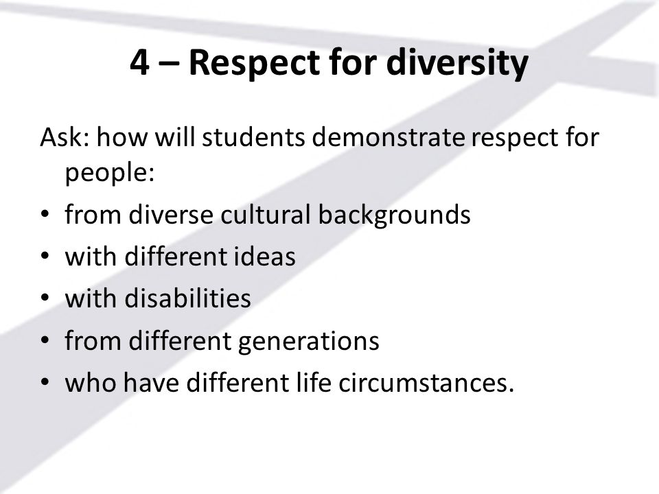 4 – Respect for diversity Ask: how will students demonstrate respect for people: from diverse cultural backgrounds with different ideas with disabilit