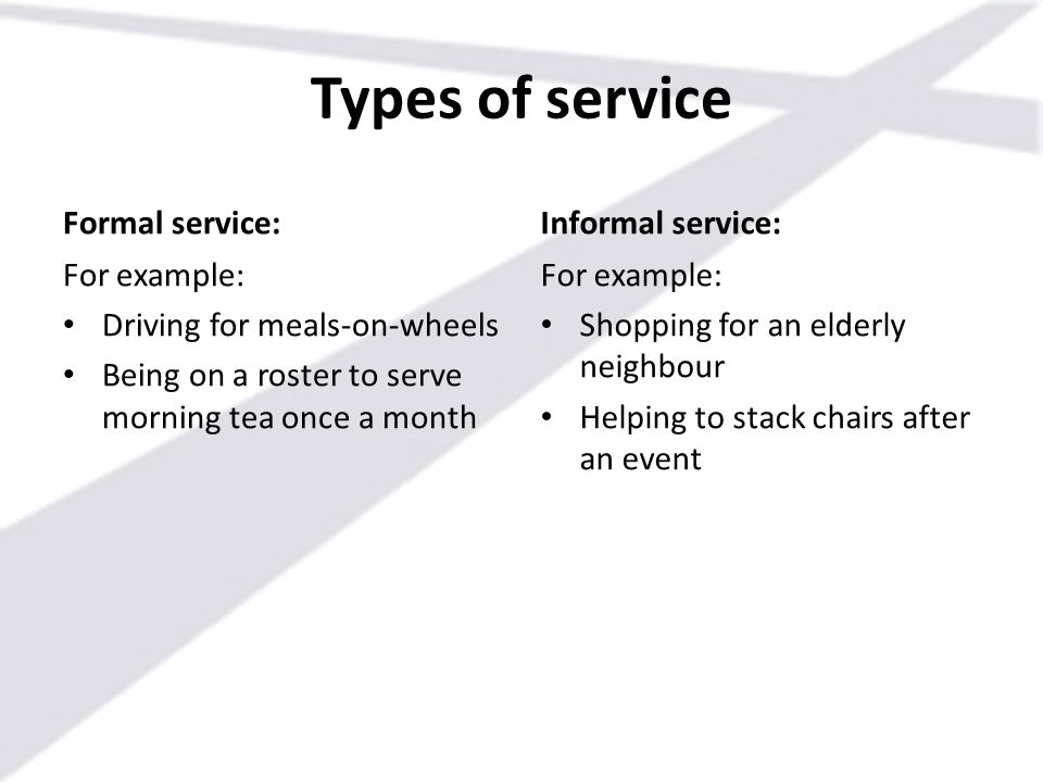 Types of service Formal service: For example: Driving for meals-on-wheels Being on a roster to serve morning tea once a month Informal service: For ex