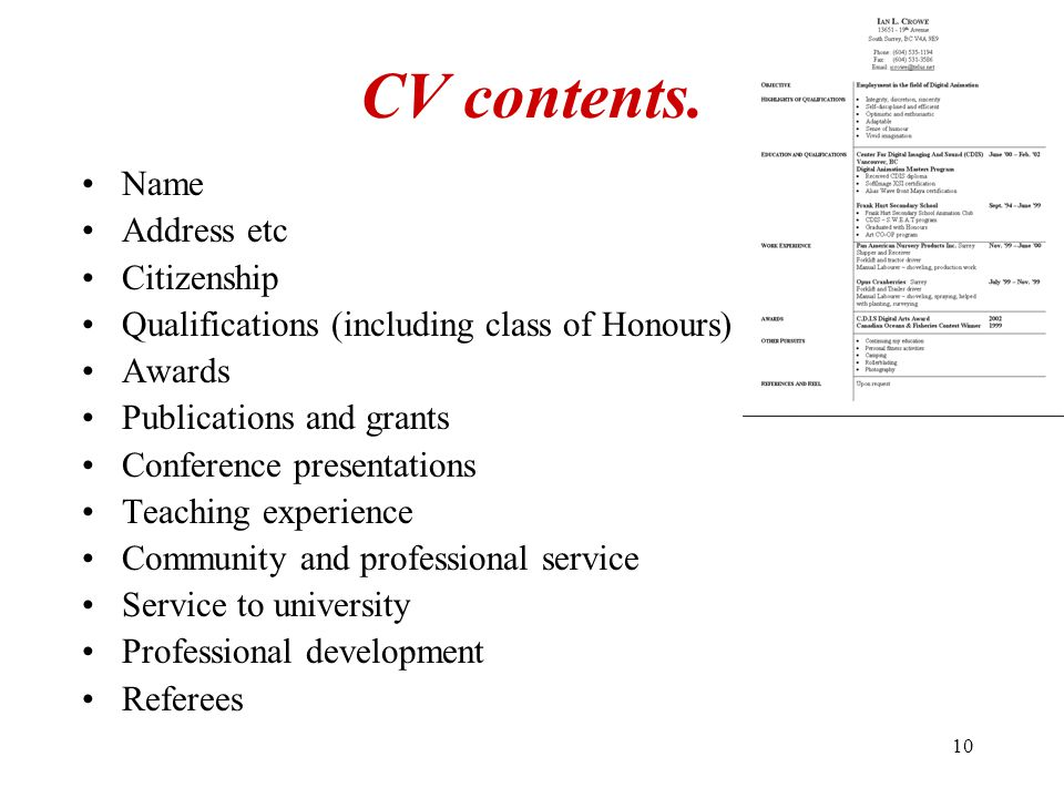 10 CV contents. Name Address etc Citizenship Qualifications (including class of Honours) Awards Publications and grants Conference presentations Teach