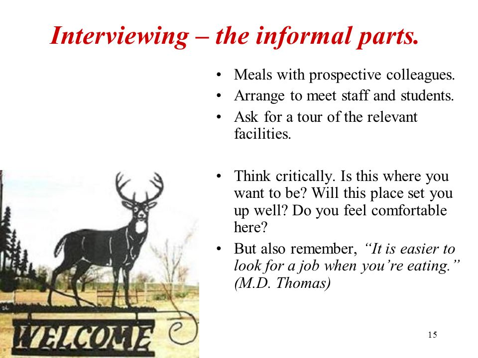 15 Interviewing – the informal parts.Meals with prospective colleagues.