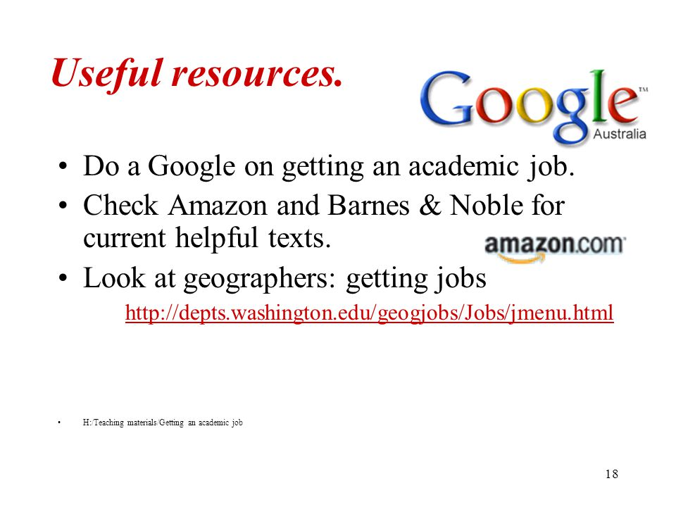 18 Useful resources. Do a Google on getting an academic job.