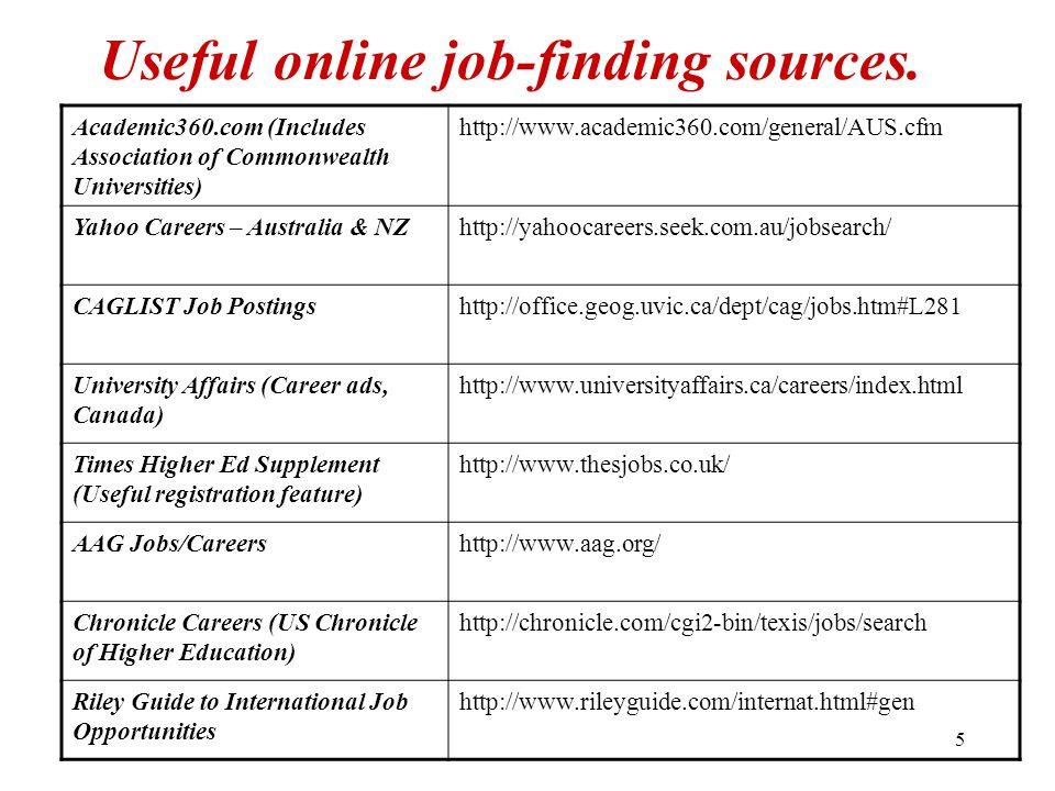 5 Useful online job-finding sources. Academic360.com (Includes Association of Commonwealth Universities) http://www.academic360.com/general/AUS.cfm Ya