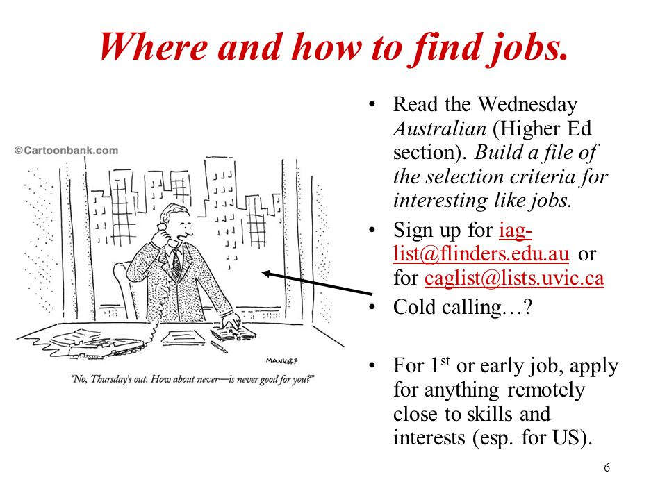 6 Where and how to find jobs. Read the Wednesday Australian (Higher Ed section).