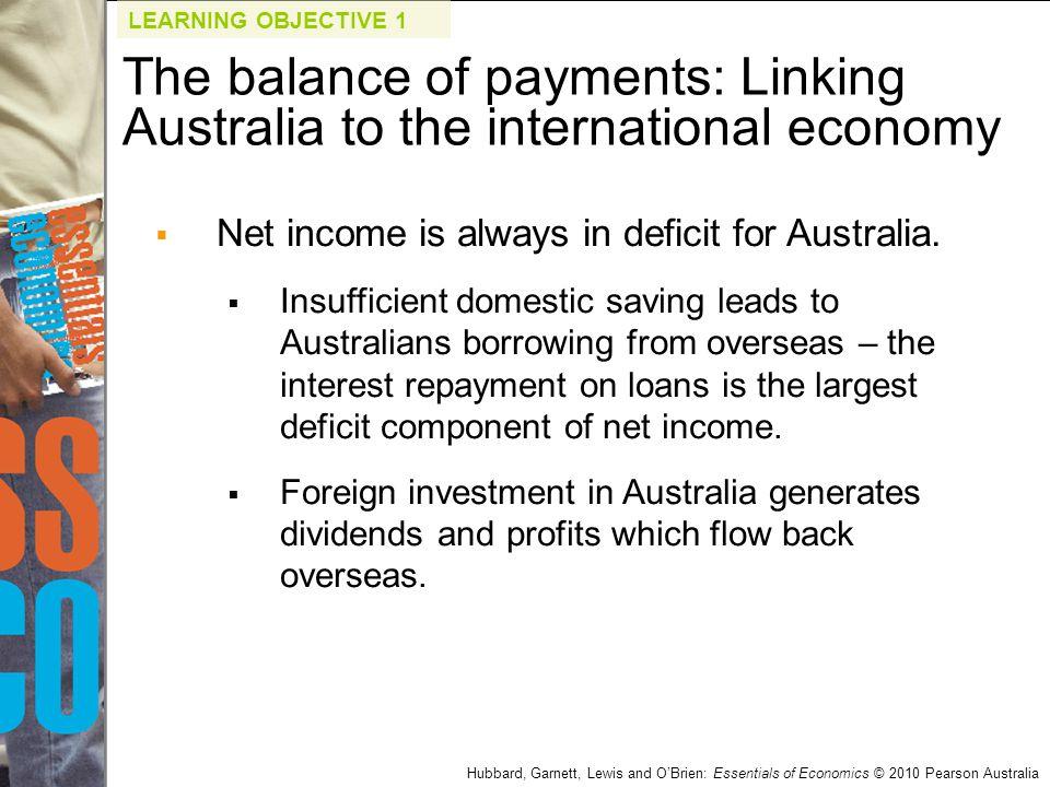 Hubbard, Garnett, Lewis and O'Brien: Essentials of Economics © 2010 Pearson Australia  Net income is always in deficit for Australia.