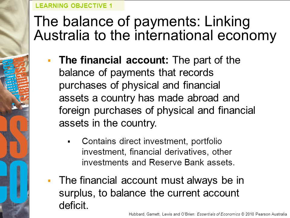Hubbard, Garnett, Lewis and O'Brien: Essentials of Economics © 2010 Pearson Australia  The financial account: The part of the balance of payments tha