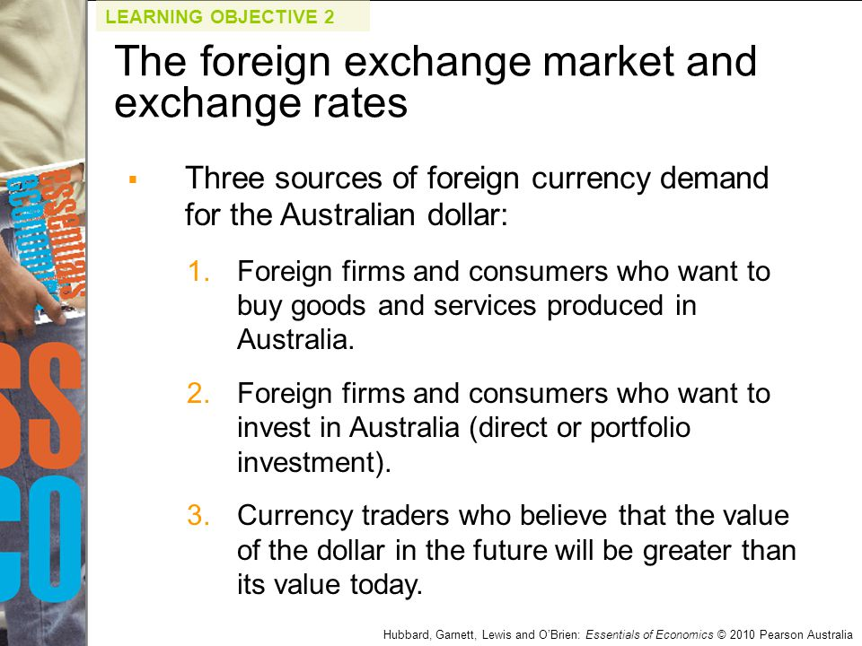 Hubbard, Garnett, Lewis and O'Brien: Essentials of Economics © 2010 Pearson Australia  Three sources of foreign currency demand for the Australian do