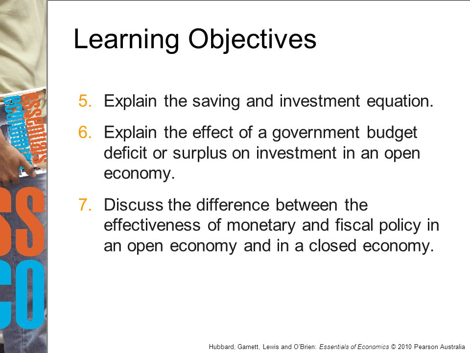 Hubbard, Garnett, Lewis and O'Brien: Essentials of Economics © 2010 Pearson Australia Learning Objectives 5.Explain the saving and investment equation