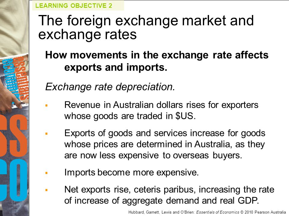 Hubbard, Garnett, Lewis and O'Brien: Essentials of Economics © 2010 Pearson Australia How movements in the exchange rate affects exports and imports.