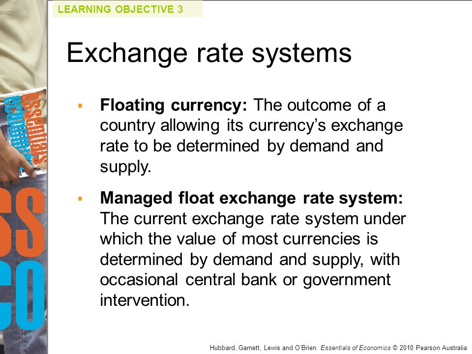 Hubbard, Garnett, Lewis and O'Brien: Essentials of Economics © 2010 Pearson Australia  Floating currency: The outcome of a country allowing its curre