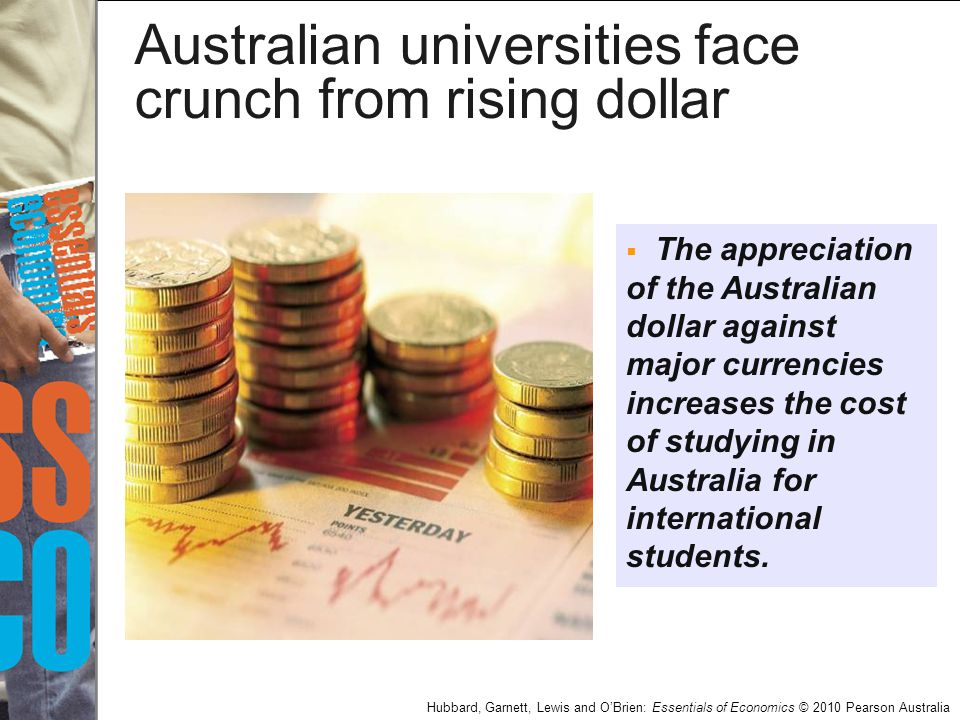 Hubbard, Garnett, Lewis and O'Brien: Essentials of Economics © 2010 Pearson Australia Australian universities face crunch from rising dollar  The app
