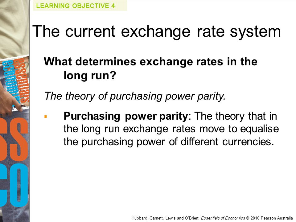 What determines exchange rates in the long run? The theory of purchasing power parity.  Purchasing power parity: The theory that in the long run exch