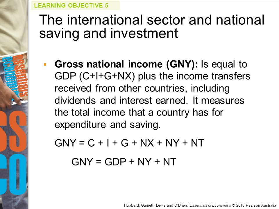 Hubbard, Garnett, Lewis and O'Brien: Essentials of Economics © 2010 Pearson Australia  Gross national income (GNY): Is equal to GDP (C+I+G+NX) plus t
