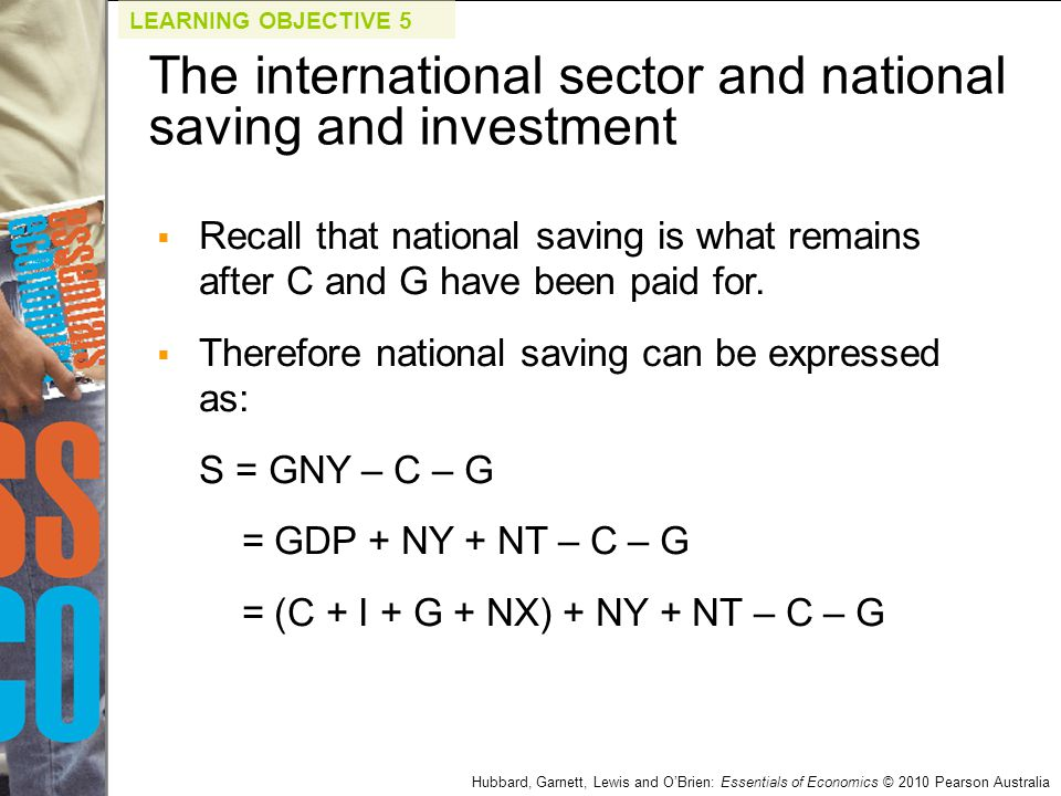 Hubbard, Garnett, Lewis and O'Brien: Essentials of Economics © 2010 Pearson Australia  Recall that national saving is what remains after C and G have
