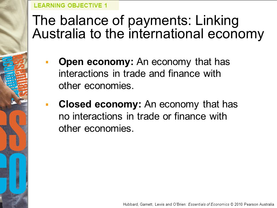Hubbard, Garnett, Lewis and O'Brien: Essentials of Economics © 2010 Pearson Australia  Open economy: An economy that has interactions in trade and fi