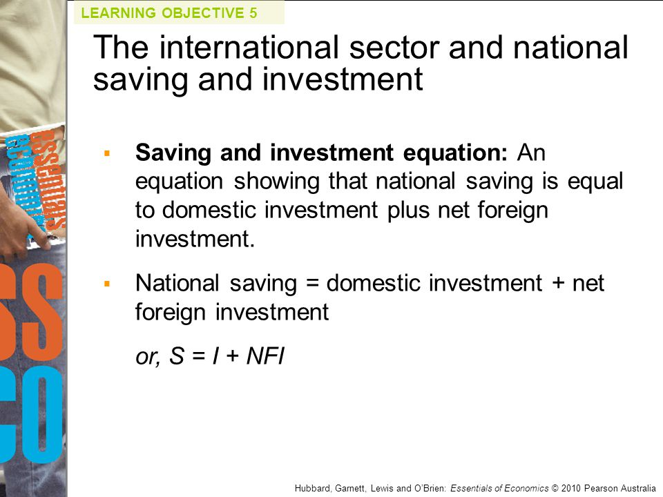 Hubbard, Garnett, Lewis and O'Brien: Essentials of Economics © 2010 Pearson Australia  Saving and investment equation: An equation showing that natio