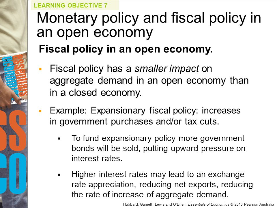 Hubbard, Garnett, Lewis and O'Brien: Essentials of Economics © 2010 Pearson Australia Fiscal policy in an open economy.  Fiscal policy has a smaller