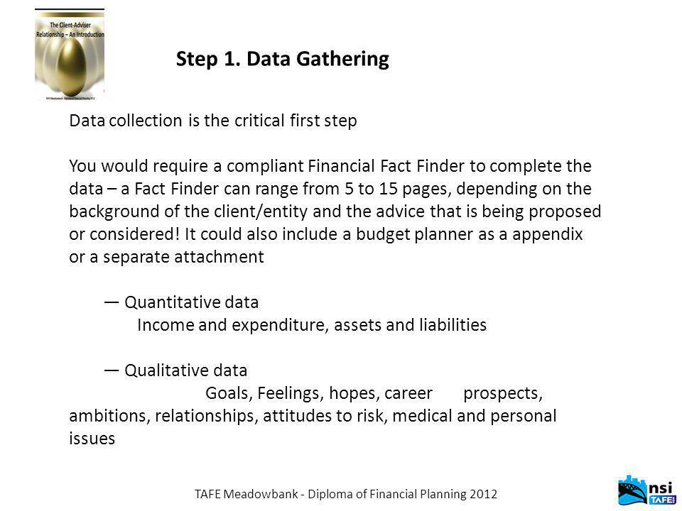 TAFE Meadowbank - Diploma of Financial Planning 2012 Step 1.