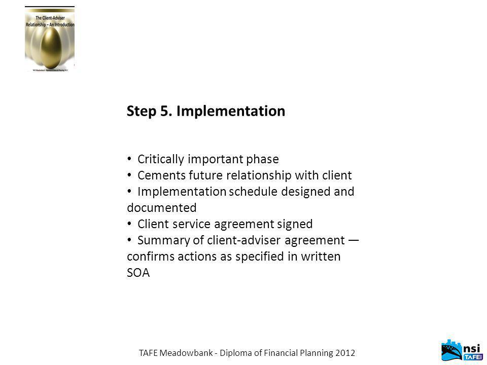 TAFE Meadowbank - Diploma of Financial Planning 2012 Step 5.
