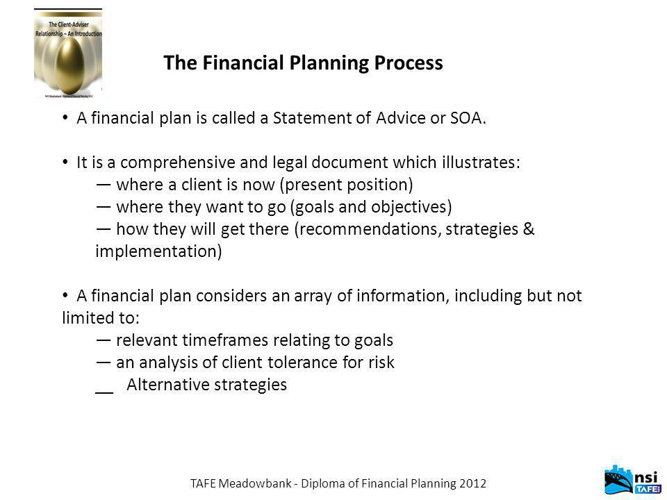TAFE Meadowbank - Diploma of Financial Planning 2012 The Financial Planning Process A financial plan is called a Statement of Advice or SOA.