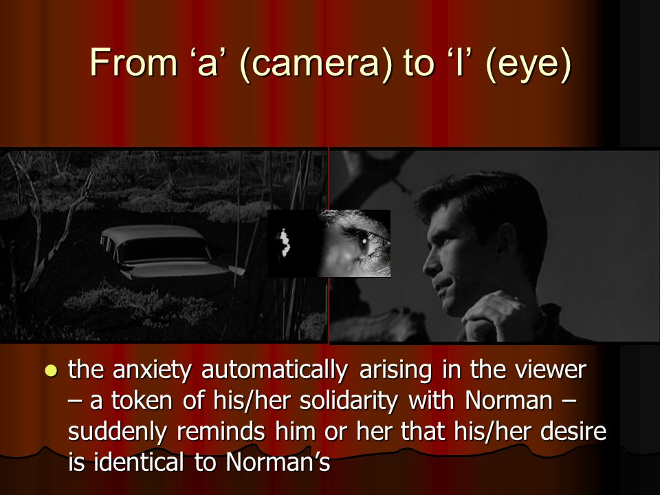 From 'a' (camera) to 'I' (eye) the anxiety automatically arising in the viewer – a token of his/her solidarity with Norman – suddenly reminds him or her that his/her desire is identical to Norman's the anxiety automatically arising in the viewer – a token of his/her solidarity with Norman – suddenly reminds him or her that his/her desire is identical to Norman's