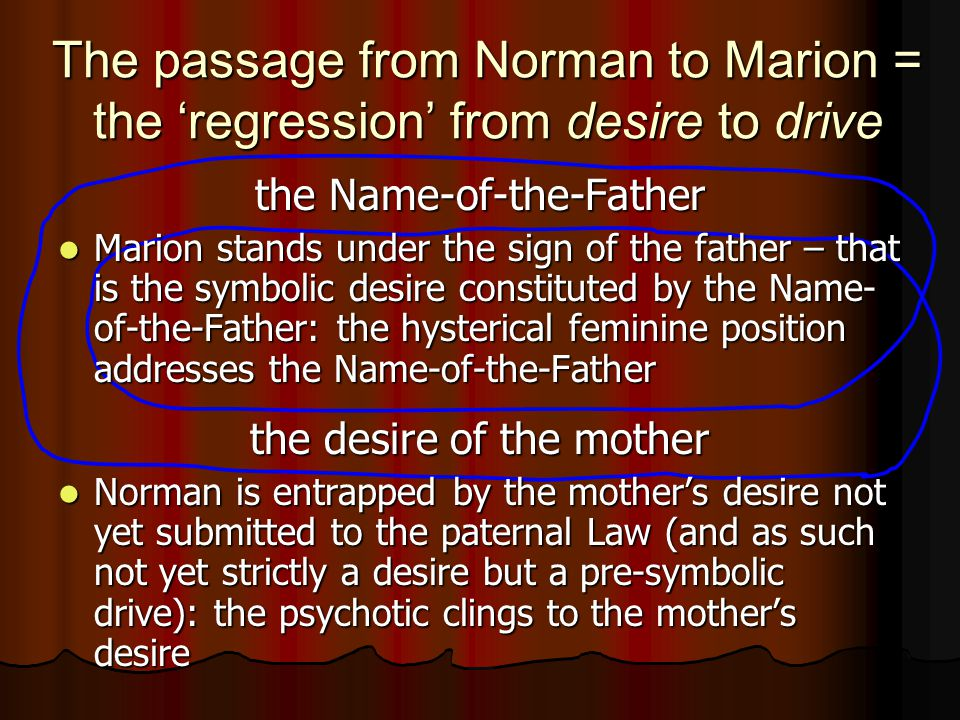 The passage from Norman to Marion = the 'regression' from desire to drive the Name-of-the-Father Marion stands under the sign of the father – that is the symbolic desire constituted by the Name- of-the-Father: the hysterical feminine position addresses the Name-of-the-Father Marion stands under the sign of the father – that is the symbolic desire constituted by the Name- of-the-Father: the hysterical feminine position addresses the Name-of-the-Father the desire of the mother Norman is entrapped by the mother's desire not yet submitted to the paternal Law (and as such not yet strictly a desire but a pre-symbolic drive): the psychotic clings to the mother's desire Norman is entrapped by the mother's desire not yet submitted to the paternal Law (and as such not yet strictly a desire but a pre-symbolic drive): the psychotic clings to the mother's desire