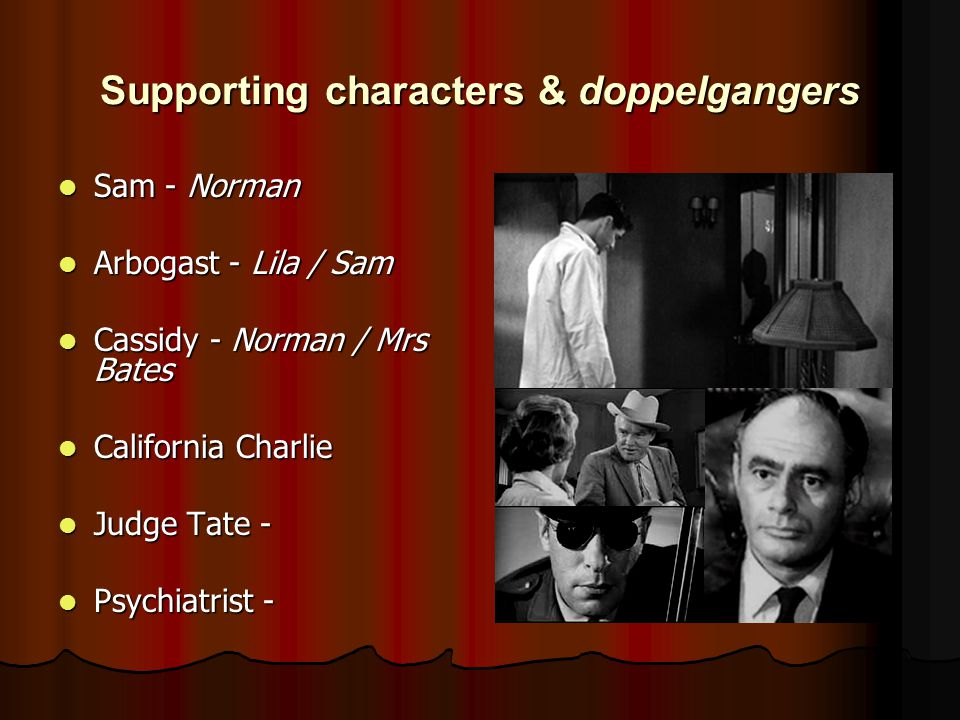 Supporting characters & doppelgangers Sam - Norman Sam - Norman Arbogast - Lila / Sam Arbogast - Lila / Sam Cassidy - Norman / Mrs Bates Cassidy - Norman / Mrs Bates California Charlie California Charlie Judge Tate - Judge Tate - Psychiatrist - Psychiatrist -