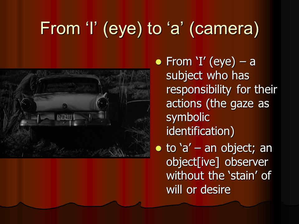 From 'I' (eye) to 'a' (camera) From 'I' (eye) – a subject who has responsibility for their actions (the gaze as symbolic identification) From 'I' (eye) – a subject who has responsibility for their actions (the gaze as symbolic identification) to 'a' – an object; an object[ive] observer without the 'stain' of will or desire to 'a' – an object; an object[ive] observer without the 'stain' of will or desire