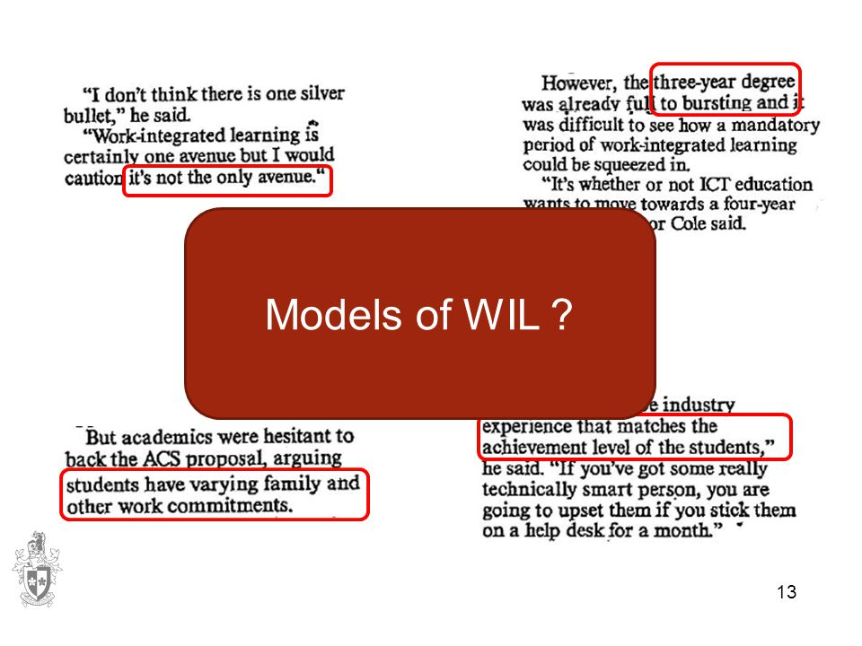 13 Models of WIL