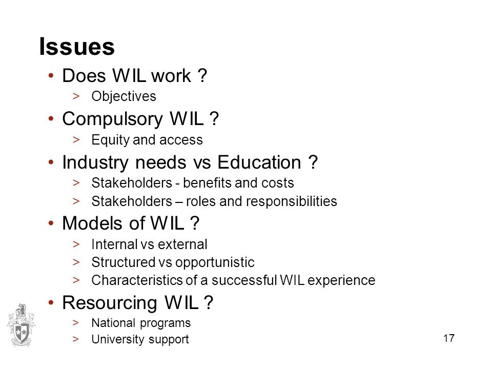 17 Issues Does WIL work . >Objectives Compulsory WIL .