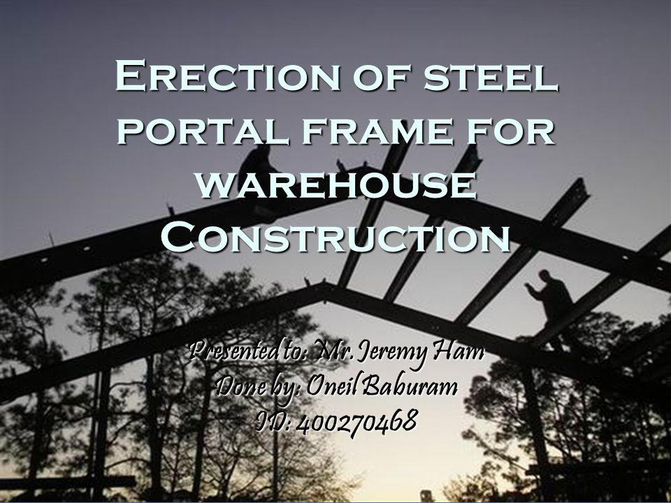 Portal Frame Portal frame construction is a method of building and designing simple structures, primarily using steel or steel-reinforced precast concrete.