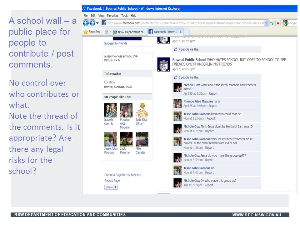 NSW DEPARTMENT OF EDUCATION AND COMMUNITIESWWW.DEC.NSW.GOV.AU A school wall – a public place for people to contribute / post comments. No control over