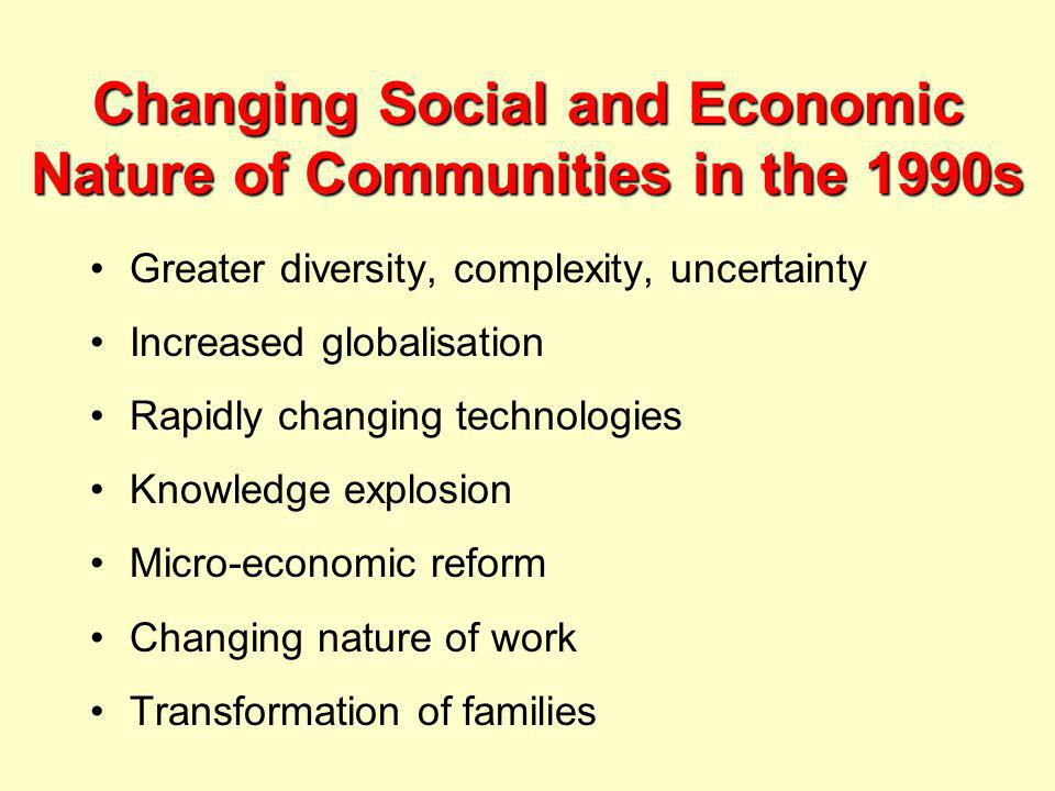 Changing Social and Economic Nature of Communities in the 1990s Greater diversity, complexity, uncertainty Increased globalisation Rapidly changing technologies Knowledge explosion Micro-economic reform Changing nature of work Transformation of families